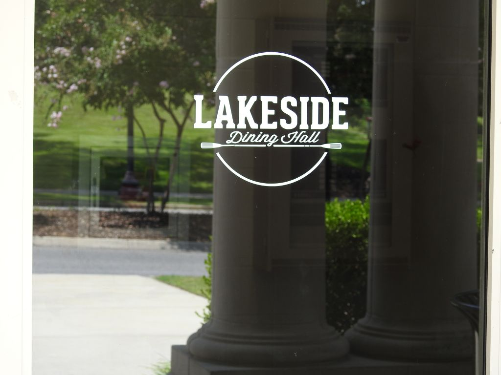 Lakeside dining hall photo on glass