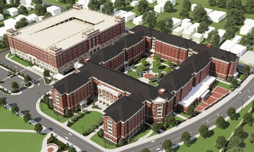 Rendering of New Tutwiler Residence Hall from the air