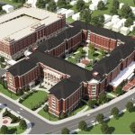New Tutwiler Residence Hall architectural rendering aerial view