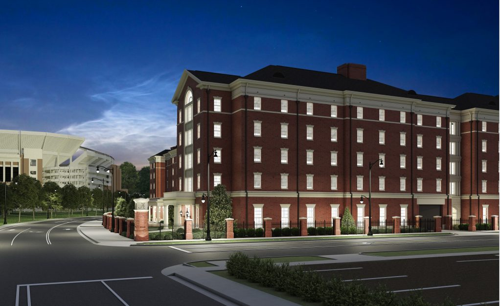 New Tutwiler Residence Hall architectural rendering night view