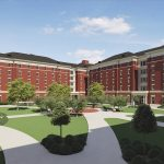 New Tutwiler Residence Hall architectural rendering courtyard view