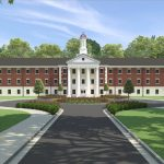 A Rendering of the Completed University Hall from front