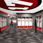Bryant-Denny Stadium Renovation and Addition architectural rendering 3886 - TEAM LOCKER ROOM BACK VIEW