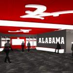 Bryant-Denny Stadium Renovation and Addition architectural rendering 3886 - TEAM LOCKER ROOM - CENTER VIEW