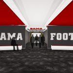 Bryant-Denny Stadium Renovation and Addition architectural rendering 3886 - TEAM LOCKER ROOM - CENTER VIEW 2