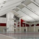 Aquatic Center Renovation architectural rendering 50M Pool SW View