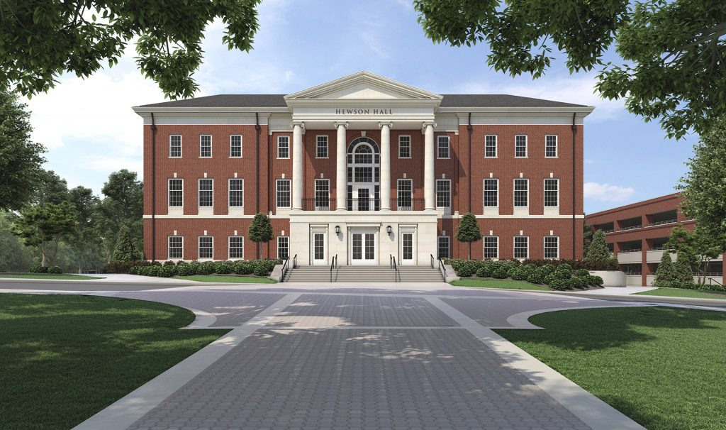 Hewson Hall W Perspective rendering view exterior of building