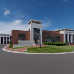 Mal M. Moore Athletic Facility Renovation & Addition architectural rendering MMAF Addition W View