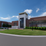 Mal M. Moore Athletic Facility Renovation & Addition architectural rendering MMAF Addition W View B