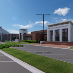 Mal M. Moore Athletic Facility Renovation & Addition architectural rendering MMAF Addition W View C