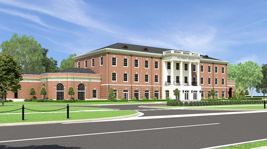 Rendering of New Alumni Hall from side