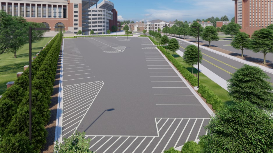 A rendering of the completed parking lot. Tutwiler Triangle Lot Stormwater Management