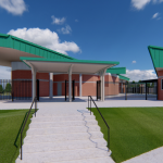 John and Ann Rhoads Softball Stadium Renovation architectural rendering Proposed Canopies S and W Elevations