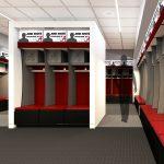 Aquatic Center Renovation architectural rendering Team Locker Room