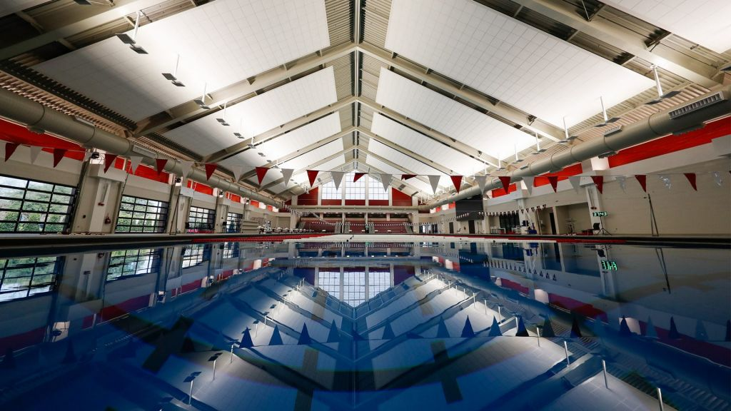 A view of the interior pool